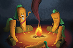 Stephen Hogtun Illustration - stephen, hogtun, stephen hogtun, drawing, paint, pen, pencil, trade, traditional, commercial, picture book, picturebook, colour, fun, objects, food, carrots, animals, rabbit, camp, camping, campfire, fire, outdoors, outside, woods, fantasy, fantasy world