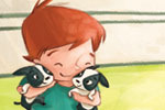 Simona Sanfilippo Illustration - simona, sanfilippo, simona sanfilippo, commercial, picture book, fiction, educational, digital, paint, painted, acrylic, YA, young reader, farm, boy, little boy, puppies, dogs, cute, sweet, cuddles, hugs