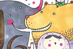 Valeria Valenza Illustration - valeria, valenza, valeria valenza, paint, painted, traditional, decoration, decorative, trade, sophisticated, picture book, picture book, YA, young reader, quirky, animals, elephant, bear, bird, owl, frog, birds